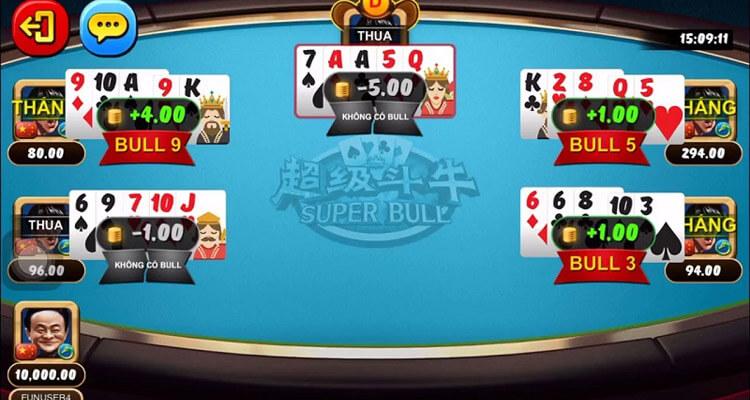 bàn chơi bài super bull W88